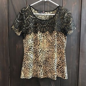 Animal print with lace Laura top size medium